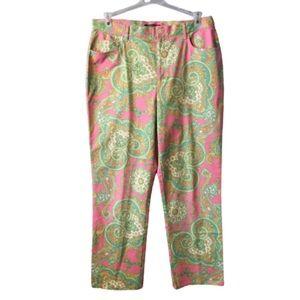 Lauren Ralph Lauren Pink & Green Paisley Pants